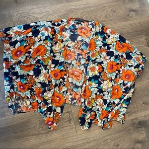 Forever 21 Plus Open Front Bright Floral Kimono 2x